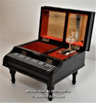 *JAPANESE BLACK LACQUER HAND-PAINTED & PEARL PIANO MUSICAL JEWELLERY BOX [LQD214]
