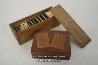 *BONE & EBONY DOMINOES 28 SET & OAK PLAYING CARD CASE WITH CARD DECALS [LQD215]