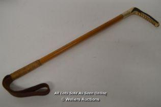 *HUNTING CROP MALACCA CANE SHAFT HORN HANDLE. WHITE METAL COLLAR [LQD215]