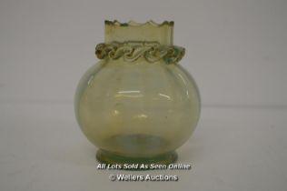 *SMALL 19TH CENTURY IRIDESCENT URANIUM GREEN GLASS VASE [LQD214]