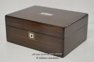 *VICTORIAN JEWELLERY/DOCUMENT COROMANDEL BOX MOTHER OF PEARL INLAY / WITH KEY / 30 X 22 X 13CM [
