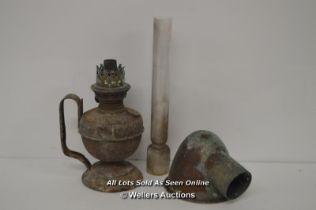 *VINTAGE OLD OIL HAND LAMP BRASS / COPPER FOR FULL RESTORATION [LQD214]
