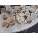 COLLECTION OF COMMERATIVE MUGS ETC