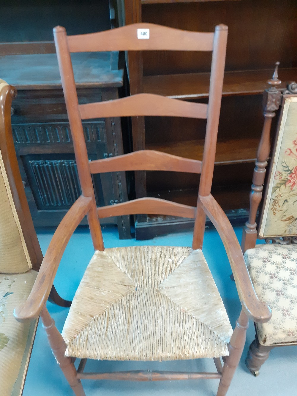 REPRO ARM CHAIR WITH RUSH SEAT