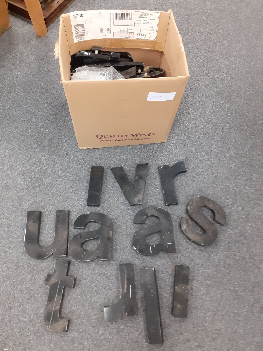 BOX OF METAL LETTERS