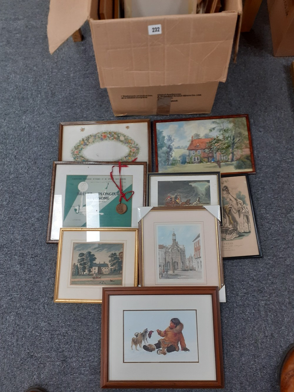 BOX OF ASSORTED PRINTS