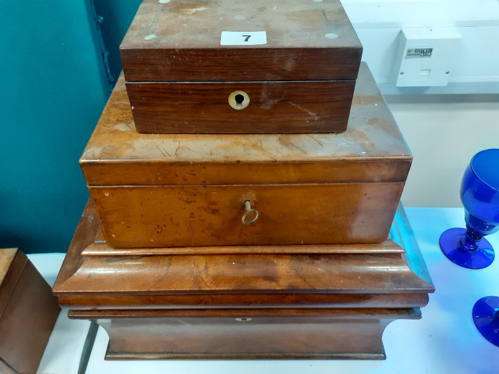 VICTORIAN TEA CADDY, 2 OTHER BOXES