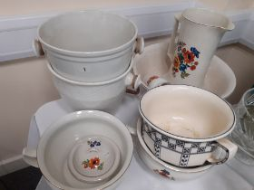 VICTORIAN TOILET SET AND 2 SLOP BUCKETS