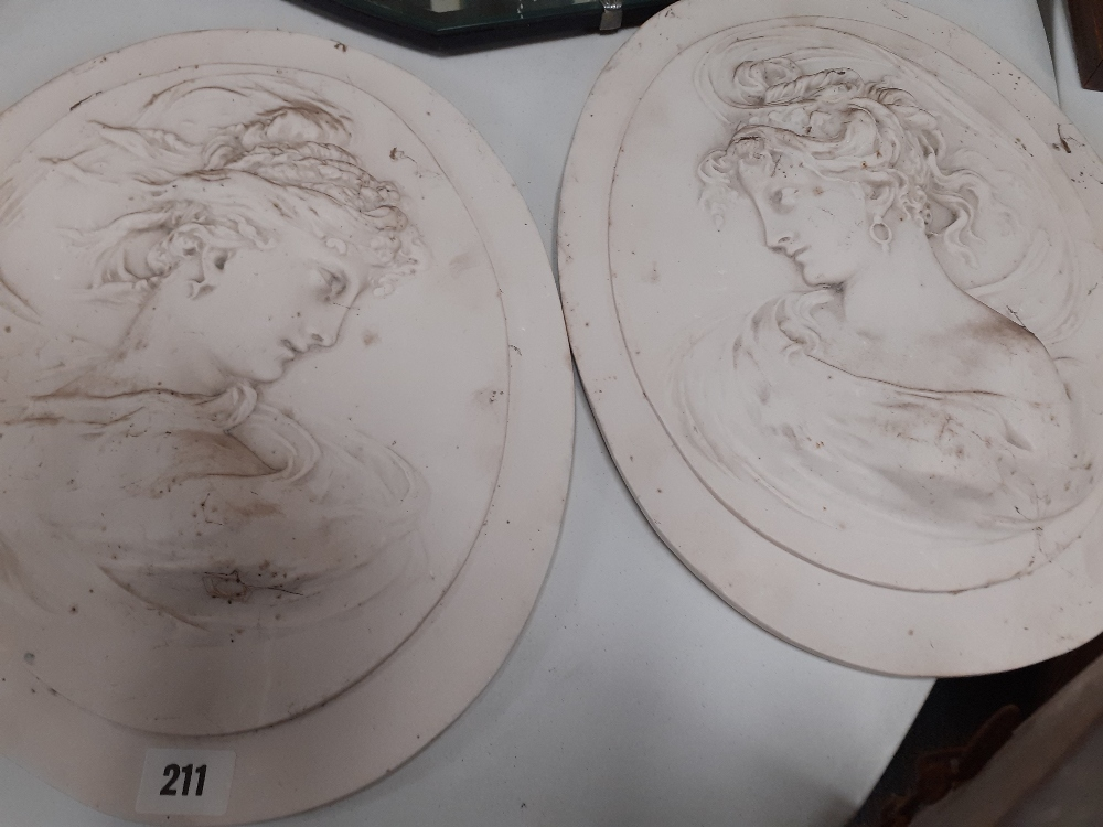 PAIR ALABASTER WALL PLAQUES