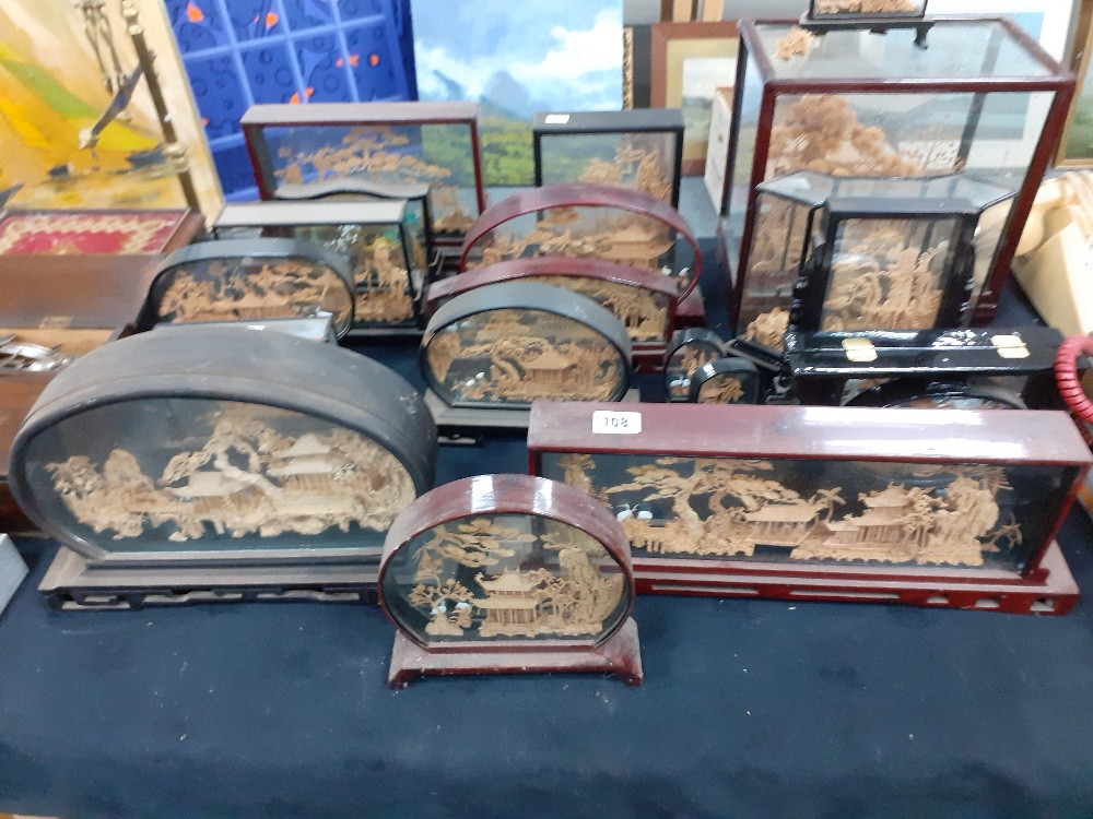 COLLECTION OF CHINESE CORK MODELS CASED