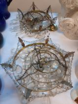 FOUR CIRCULAR CUT GLASS CHANDELIERS