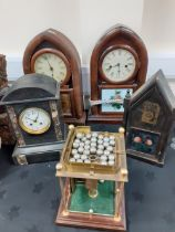 3 AMERICAN WALL CLOCKS, 2 OTHERS