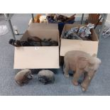 2 BOXES OF CARVED ELEPHANTS