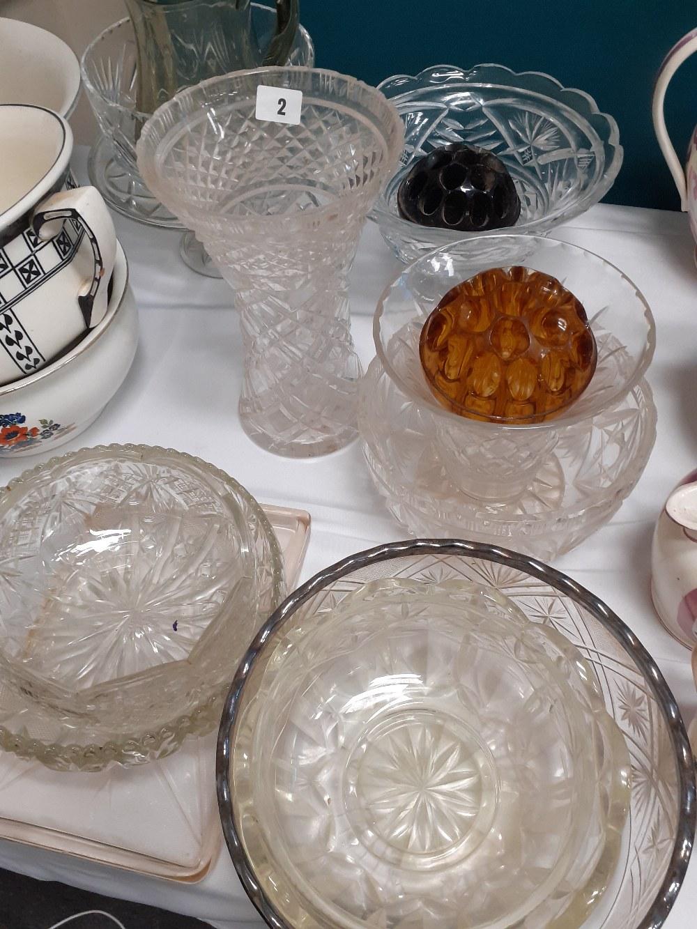 CUT GLASS VASE,BOWLS ETC (12)