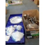 BOX SILVER PLATED TEA SET AND OTHER WARE