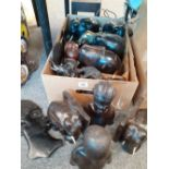 QUANTITY OF CARVED AFRICAN FIGURES ETC