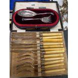 A BOXED SET OF SILVER BLADE FISH KNIVES