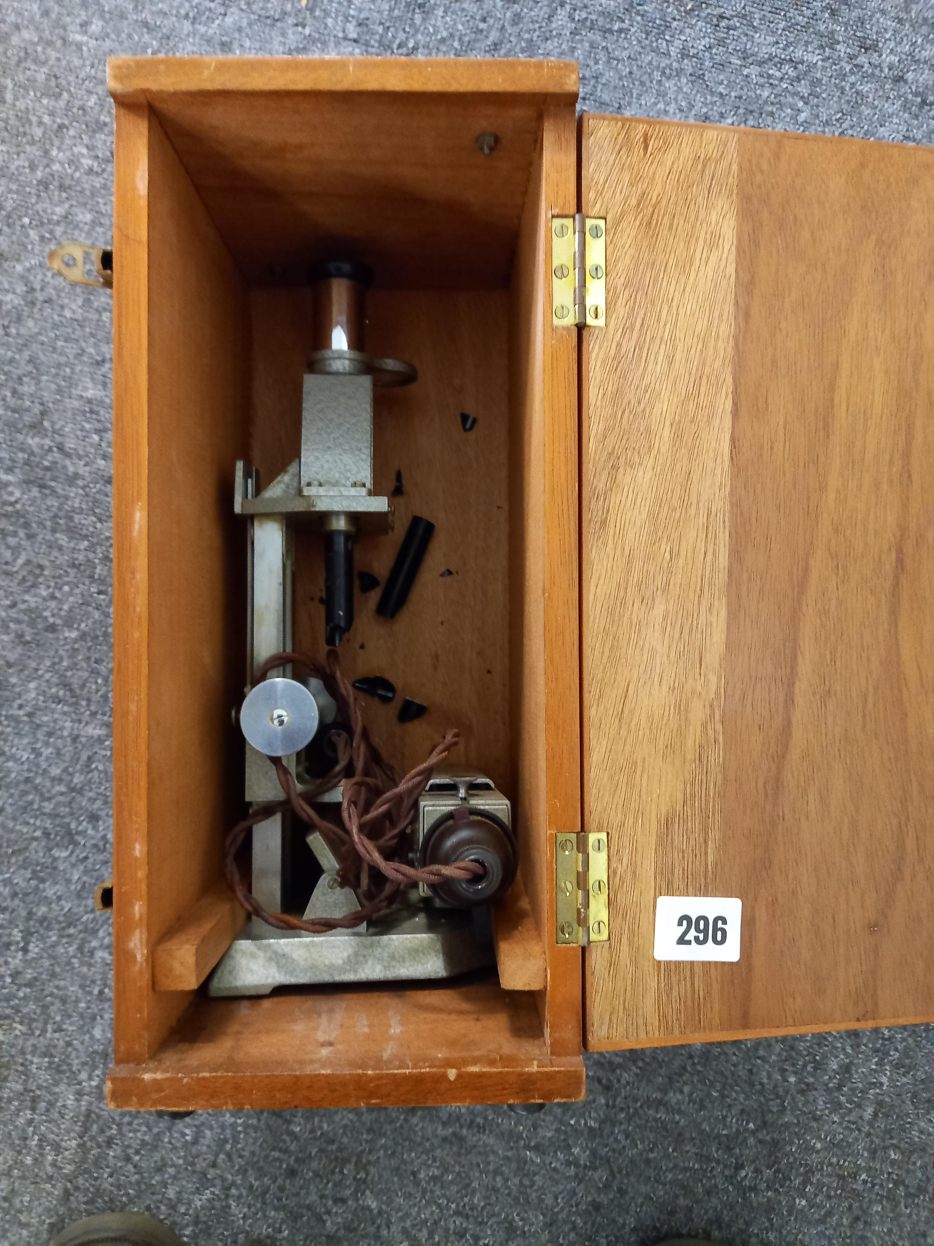 ELECTRIC MICROSCOPE IN A WOODEN CASE