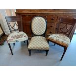 VICTORIAN SPOON BACK CHAIR, 2 OTHERS