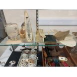 QUANTITY OF IVORY WARE, WATCH STAND ETC