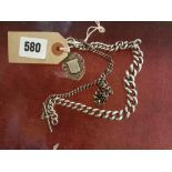 TWO SILVER WATCH CHAINS TOGETHER WITH A
