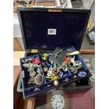 QUANTITY OF COSTUME JEWELRY, GOLD RINGS BROOCHES ETC IN VICTORIAN CASE