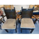 PAIR OF OAK CARVER CHAIRS