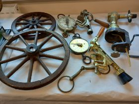 2 WOODEN CART WHEELS, SLATER SCALES
