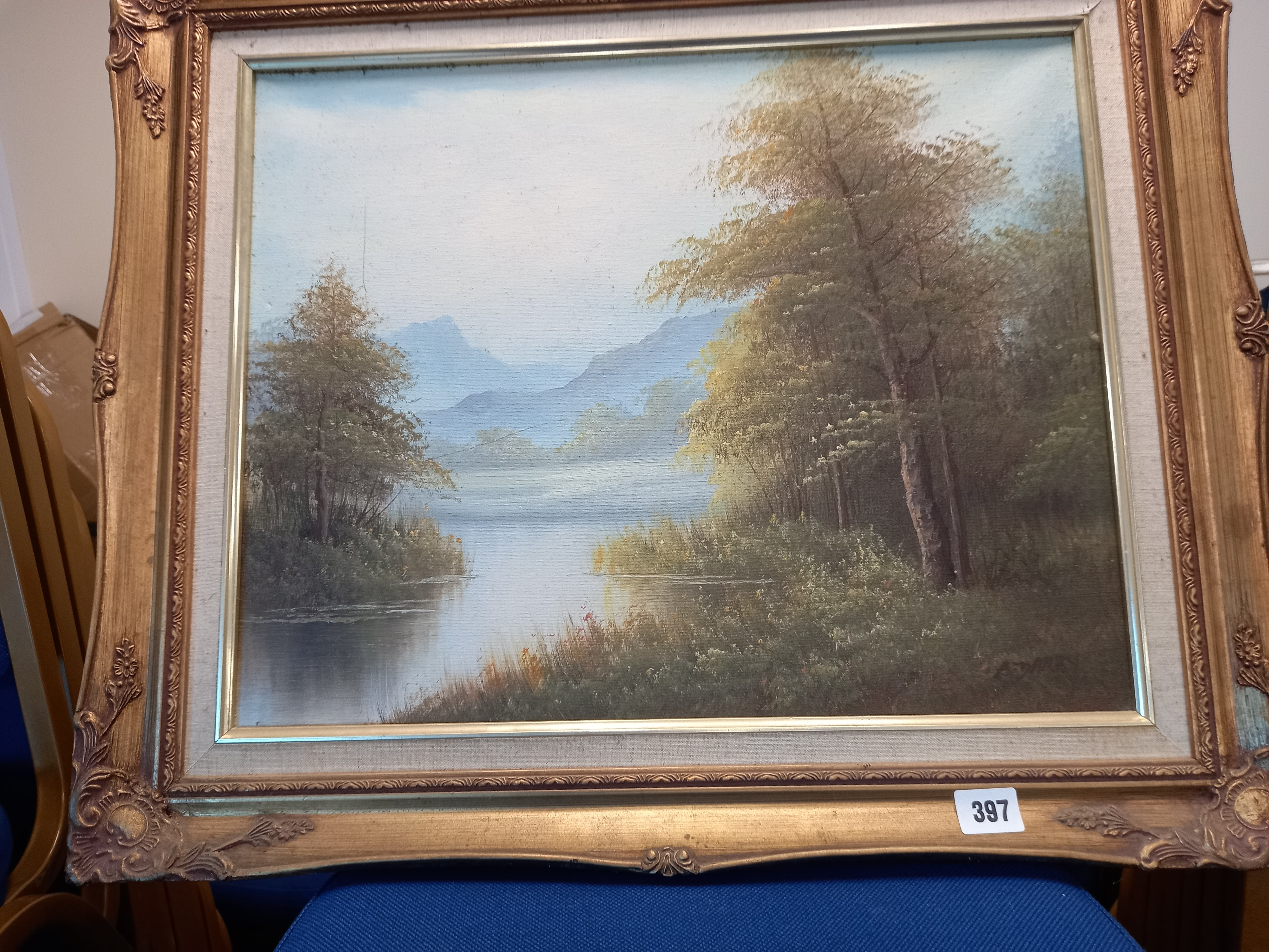 A DERBY TREES AND LAKE SIGNED OIL