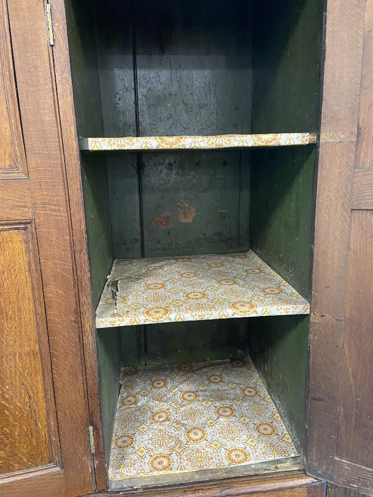 LATE 18C OAK 4 DOOR CUPBOARD - Image 4 of 5