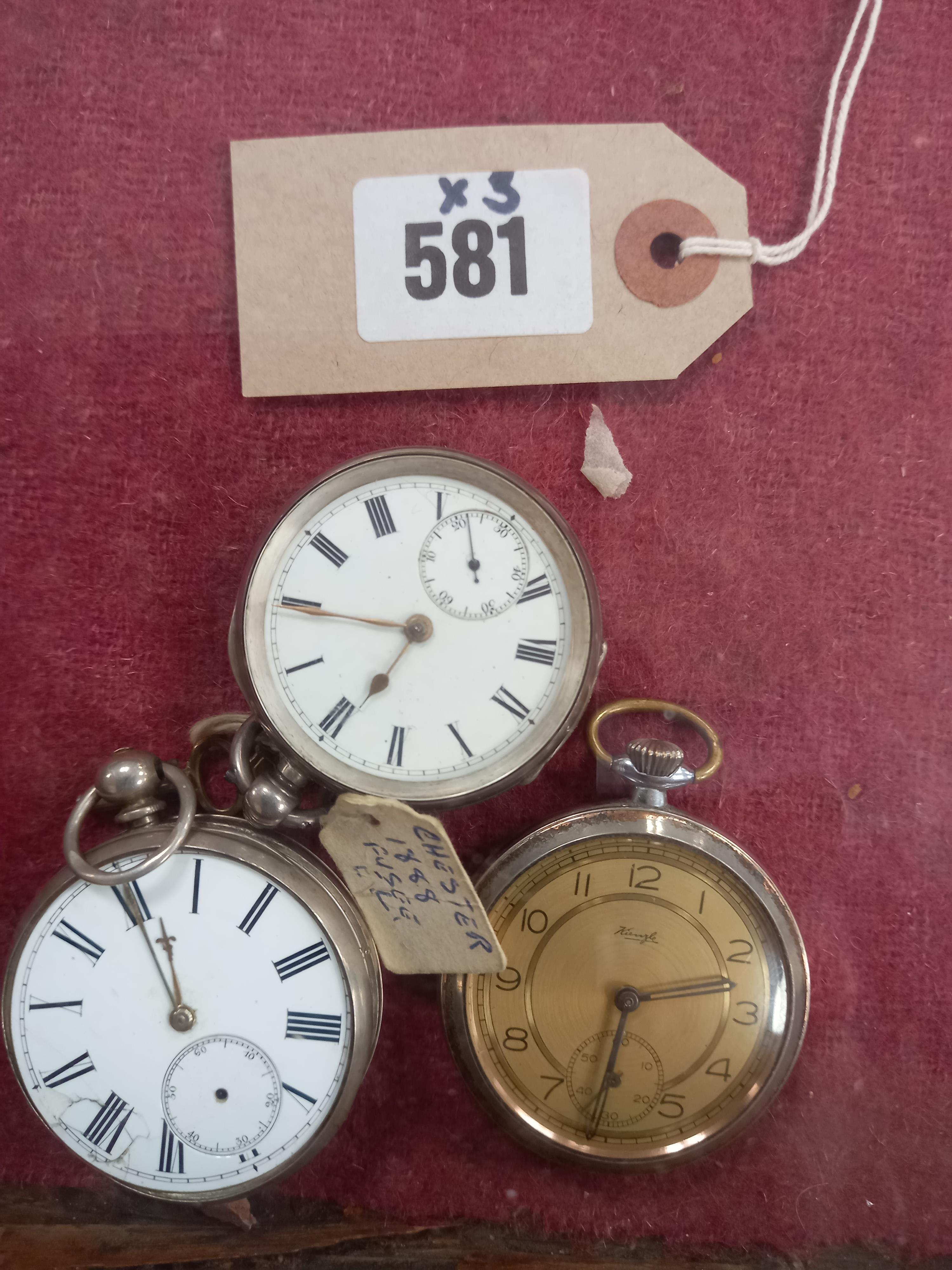 A SILVER CASED POCKET WATCH CHESTER 1888