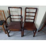 Two 1930s oak drop seated chairs A/F