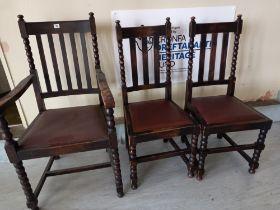 Three 1930s oak bobbin turned chairs