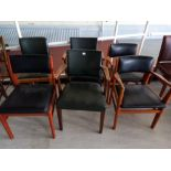 Six faux leather backed elbow and other chairs