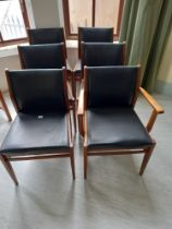 Six faux leather elbow and open chairs