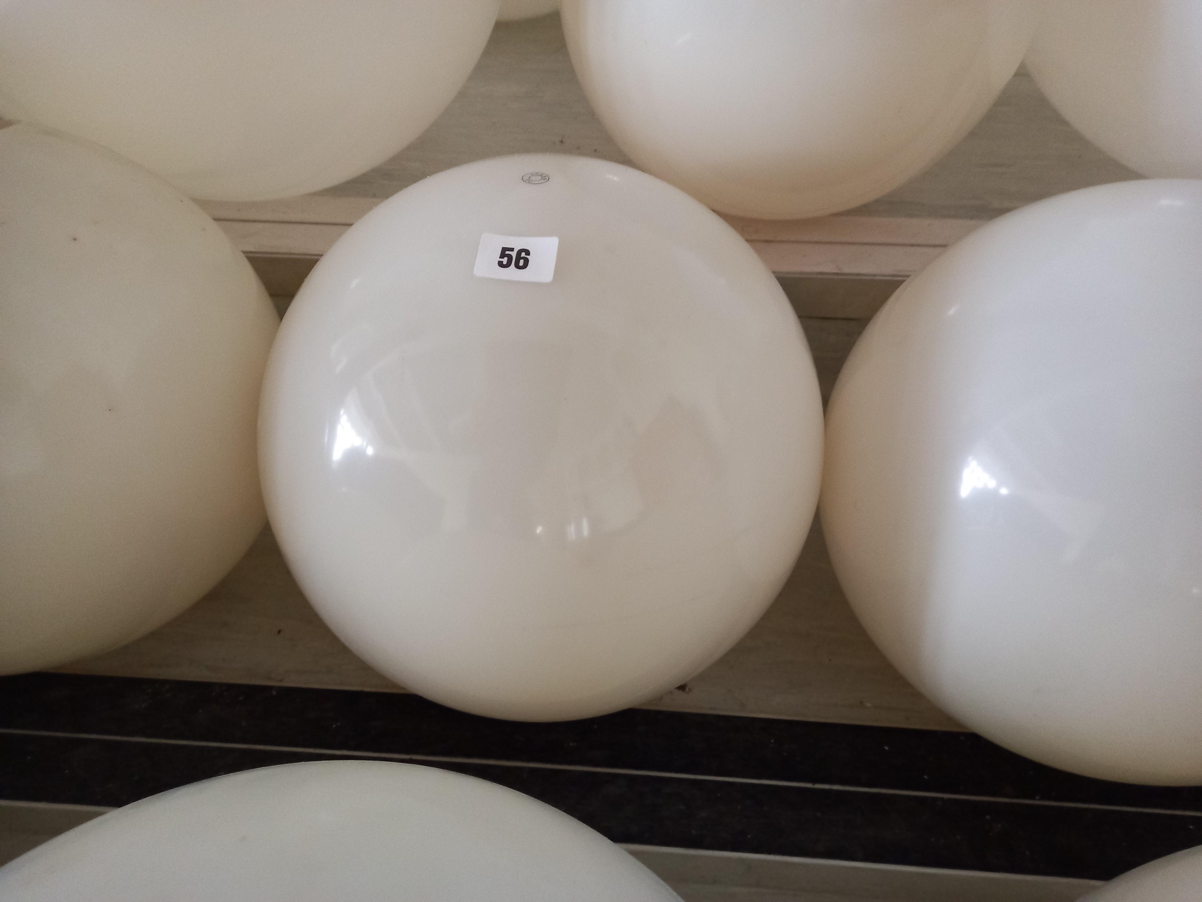 "Six white plastic light shades 12"" dia"