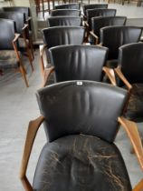 Six leather backed elbow chairs