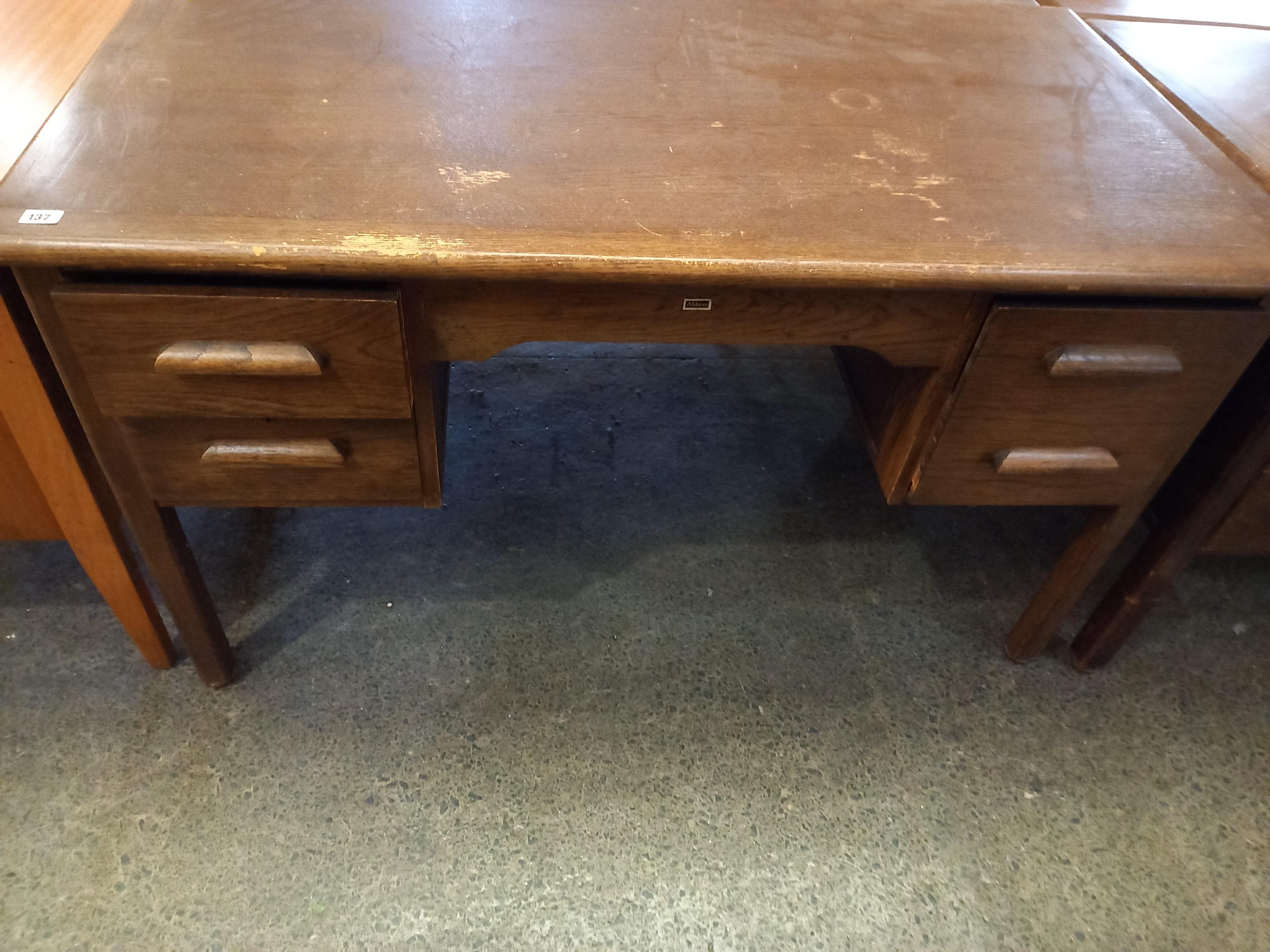 "A 1940s/50s Oak kneehole desk 29"" x53"" x 31 "" high"