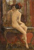 Münchner Maler: Frauenakt vor Rokokospiegel