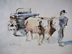 Georg Böhler - Watercolour ox cart 1979