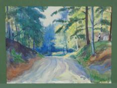 Emil Paul Börner (1888-1970, Meissen) - watercolor forest path 1951