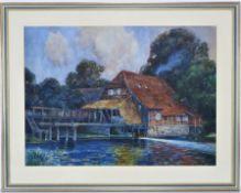 Heinrich Rüter (1877, Bergedorf near Hamburg - 1955, Hilden) - Watercolor thatched house 1907