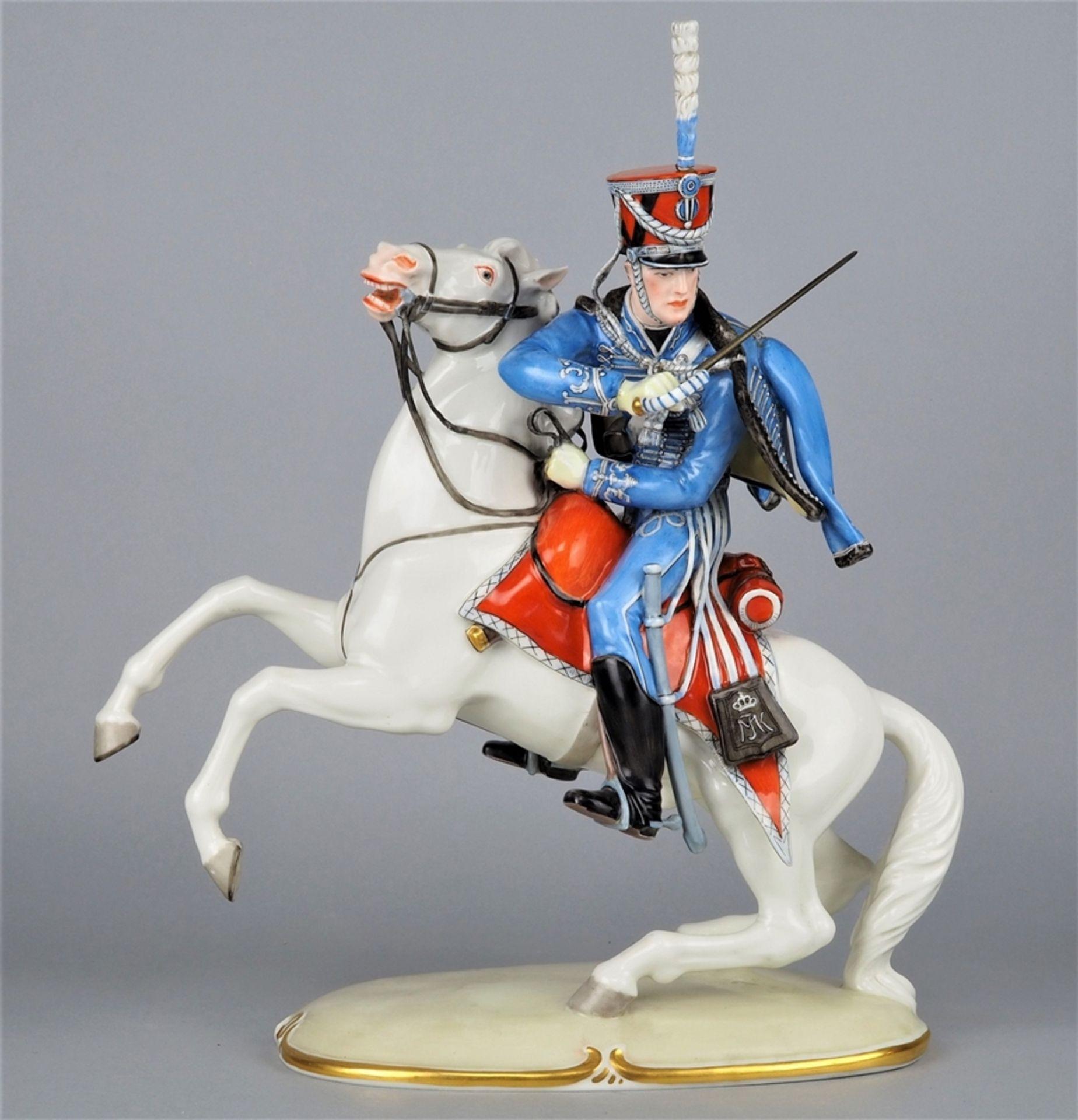 Nymphenburg Porcelain Manufactory: Officer of the 2nd Royal Bavarian Hussar Regiment on horseback.