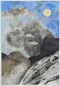 """Large gouache abstracted landscape - sign. """"Jürgen Schilling 96"""""""