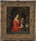 Christian Friedrich Fues (1772, Tübingen - 1836, Nürnberg) - Porträt Mutter mit Kind und Hund