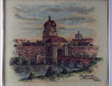 "chalk drawing former Frauentor Ulm - sign. ""L. Ade 1973"""