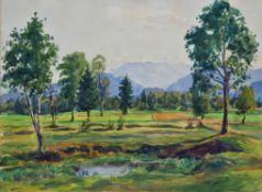 Emil Paul Börner (1888-1970, Meissen) - watercolor landscape Fischen im Allgäu 1942.