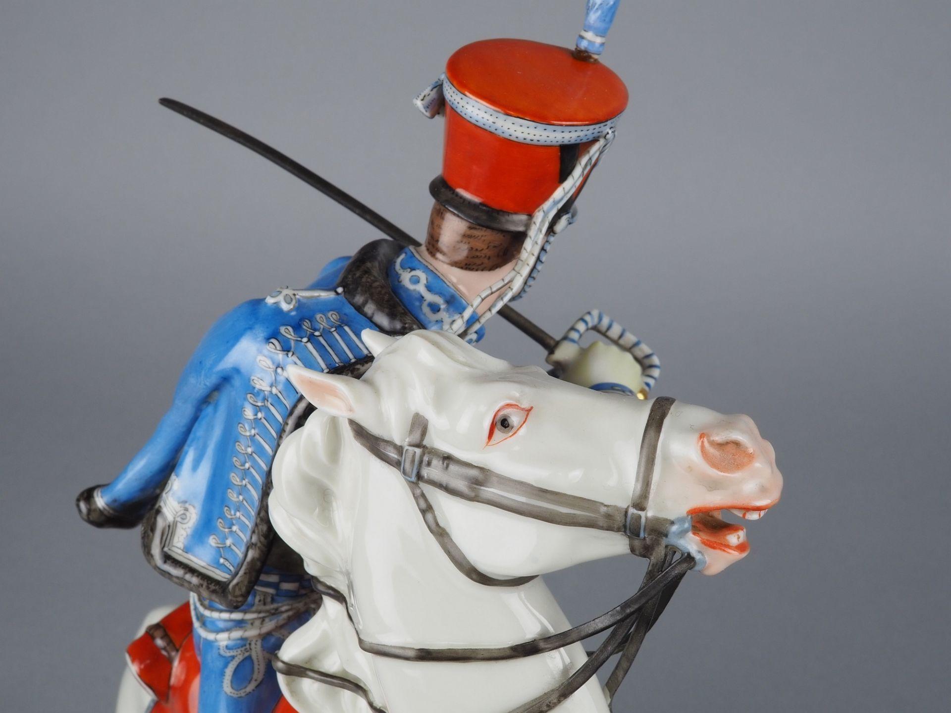 Nymphenburg Porcelain Manufactory: Officer of the 2nd Royal Bavarian Hussar Regiment on horseback. - Image 5 of 8