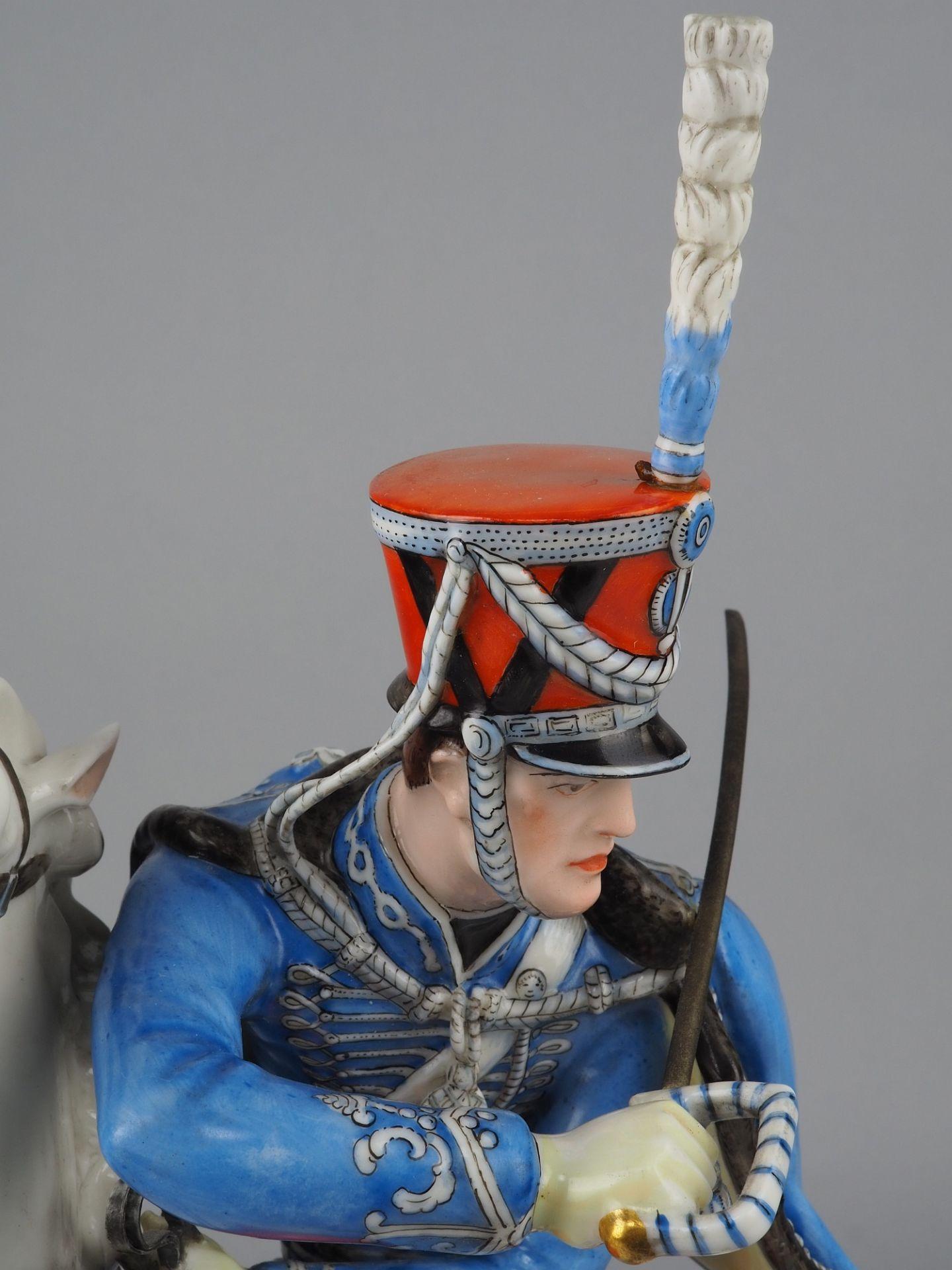 Nymphenburg Porcelain Manufactory: Officer of the 2nd Royal Bavarian Hussar Regiment on horseback. - Image 6 of 8