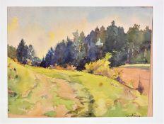 Paul Dörr (1892-1965) - Watercolor landscape with forest